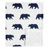 Woodland Bear Baby Boy Receiving Security Swaddle Blanket for Newborn or Toddler Nursery Car Seat Stroller Soft Minky by Sweet Jojo Designs - Navy Blue and White
