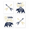 Woodland Bear Wall Art Prints Room Decor for Baby, Nursery, and Kids by Sweet Jojo Designs - Set of 4 - Navy Blue Gold and White Arrow