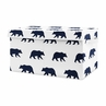 Woodland Big Bear Boy Small Fabric Toy Bin Storage Box Chest For Baby Nursery or Kids Room by Sweet Jojo Designs - Navy Blue and White Forest Animal