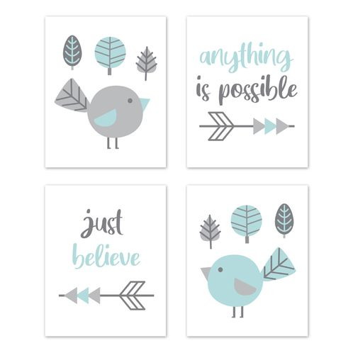 Woodland Bird Wall Art Prints Room Decor for Baby, Nursery, and Kids by Sweet Jojo Designs - Set of 4 - Turquoise Blue and Grey Outdoor Forest Tree Earth and Sky - Click to enlarge