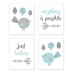 Woodland Bird Wall Art Prints Room Decor for Baby, Nursery, and Kids by Sweet Jojo Designs - Set of 4 - Turquoise Blue and Grey Outdoor Forest Tree Earth and Sky