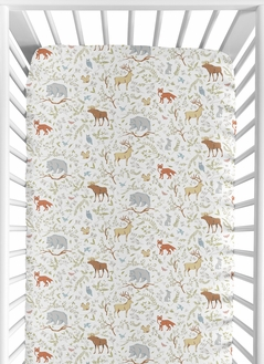 Woodland Boy Girl Jersey Stretch Knit Baby Fitted Crib Sheet for Soft Toddler Bed Nursery by Sweet Jojo Designs - Grey, Green and Brown Forest Animal Toile Bear Deer Fox