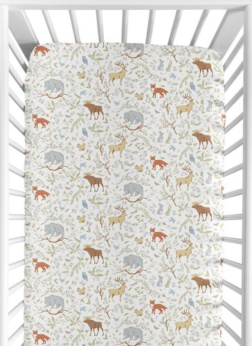 Woodland Boy Girl Jersey Stretch Knit Baby Fitted Crib Sheet for Soft Toddler Bed Nursery by Sweet Jojo Designs - Grey, Green and Brown Forest Animal Toile Bear Deer Fox - Click to enlarge