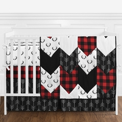 Woodland Buffalo Plaid Baby Boy Nursery Crib Bedding Set with Bumper by Sweet Jojo Designs - 9 pieces - Red and Black Rustic Country Deer Lumberjack Arrow