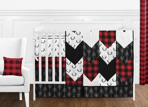 Woodland Buffalo Plaid Baby Boy Nursery Crib Bedding Set with Bumper by Sweet Jojo Designs - 9 pieces - Red and Black Rustic Country Deer Lumberjack Arrow - Click to enlarge