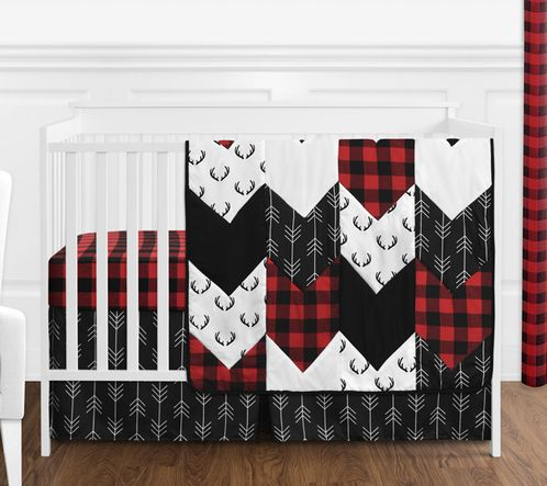 Woodland Buffalo Plaid Baby Boy Nursery Crib Bedding Set without Bumper by Sweet Jojo Designs - 4 pieces - Red and Black Rustic Country Deer Lumberjack Arrow - Click to enlarge
