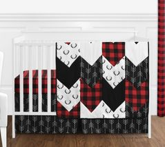 Woodland Buffalo Plaid Baby Boy Nursery Crib Bedding Set without Bumper by Sweet Jojo Designs - 4 pieces - Red and Black Rustic Country Deer Lumberjack Arrow