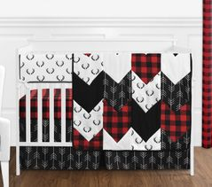 Woodland Buffalo Plaid Baby Boy Nursery Crib Bedding Set without Bumper by Sweet Jojo Designs - 5 pieces - Red and Black Rustic Country Deer Lumberjack Arrow