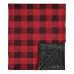 Woodland Buffalo Plaid Baby Boy Receiving Security Swaddle Blanket for Newborn or Toddler Nursery Car Seat Stroller Soft Minky by Sweet Jojo Designs - Red and Black Rustic Country Lumberjack