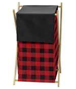 Woodland Buffalo Plaid Baby Kid Clothes Laundry Hamper by Sweet Jojo Designs - Red and Black Rustic Country Lumberjack