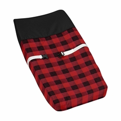 Woodland Buffalo Plaid Boy Baby Nursery Changing Pad Cover by Sweet Jojo Designs - Red and Black Rustic Country Lumberjack