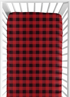 Woodland Buffalo Plaid Boy Fitted Crib Sheet Baby or Toddler Bed Nursery by Sweet Jojo Designs - Red and Black Rustic Country Lumberjack