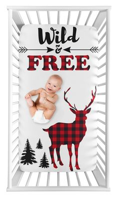 Woodland Buffalo Plaid Boy Fitted Crib Sheet Baby or Toddler Bed Nursery Photo Op by Sweet Jojo Designs - Red and Black Rustic Country Deer Lumberjack Arrow