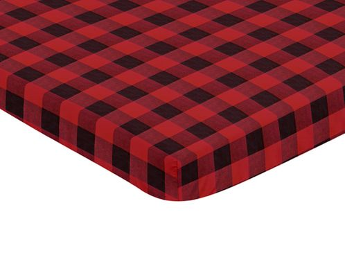 Woodland Buffalo Plaid Boy Fitted Mini Crib Sheet Baby Nursery by Sweet Jojo Designs For Portable Crib or Pack and Play - Red and Black Rustic Country Lumberjack - Click to enlarge