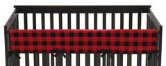 Woodland Buffalo Plaid Boy Long Front Crib Rail Guard Baby Teething Cover Protector Wrap by Sweet Jojo Designs - Red and Black Rustic Country Lumberjack