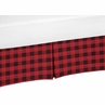Woodland Buffalo Plaid Boy Pleated Baby Nursery Crib Bed Skirt Dust Ruffle by Sweet Jojo Designs - Red and Black Rustic Country Lumberjack