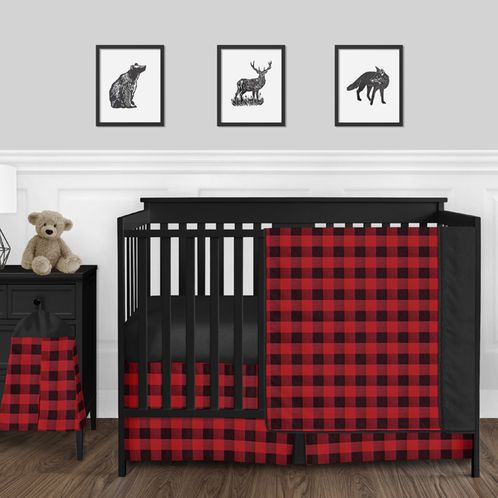 Woodland Buffalo Plaid Check Baby Boy Nursery Crib Bedding Set by Sweet Jojo Designs - 4 pieces - Red and Black Rustic Country Lumberjack - Click to enlarge