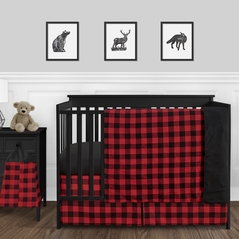 Woodland Buffalo Plaid Check Baby Boy Nursery Crib Bedding Set by Sweet Jojo Designs - 4 pieces - Red and Black Rustic Country Lumberjack