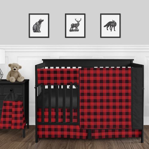 Woodland Buffalo Plaid Check Baby Boy Nursery Crib Bedding Set by Sweet Jojo Designs - 5 pieces - Red and Black Rustic Country Lumberjack - Click to enlarge