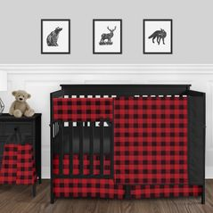 Woodland Buffalo Plaid Check Baby Boy Nursery Crib Bedding Set by Sweet Jojo Designs - 5 pieces - Red and Black Rustic Country Lumberjack