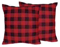 Woodland Buffalo Plaid Decorative Accent Throw Pillows by Sweet Jojo Designs - Set of 2 - Red and Black Rustic Country Lumberjack