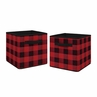 Woodland Buffalo Plaid Foldable Fabric Storage Cube Bins Boxes Organizer Toys Kids Baby Childrens by Sweet Jojo Designs - Set of 2 - Red and Black Rustic Country Lumberjack