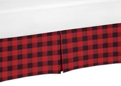 Woodland Buffalo Plaid Pleated Queen Bed Skirt Dust Ruffle by Sweet Jojo Designs - Red and Black Rustic Country Lumberjack