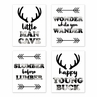 Woodland Buffalo Plaid Wall Art Prints Room Decor for Baby, Nursery, and Kids by Sweet Jojo Designs - Set of 4 - Black and White Rustic Country Deer Lumberjack Arrow Man Cave