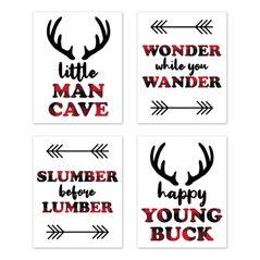 Woodland Buffalo Plaid Wall Art Prints Room Decor for Baby, Nursery, and Kids by Sweet Jojo Designs - Set of 4 - Red and Black Rustic Country Deer Lumberjack Arrow Man Cave