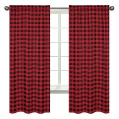 Woodland Buffalo Plaid Window Treatment Panels Curtains by Sweet Jojo Designs - Set of 2 - Red and Black Rustic Country Lumberjack