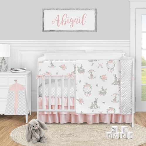 Woodland Bunny Baby Girl Nursery Crib Bedding Set by Sweet Jojo Designs - 5 pieces - Blush Pink and Grey Boho Floral Watercolor Rose Flower - Click to enlarge