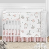 Woodland Bunny Baby Girl Nursery Crib Bedding Set by Sweet Jojo Designs - 5 pieces - Blush Pink and Grey Boho Floral Watercolor Rose Flower