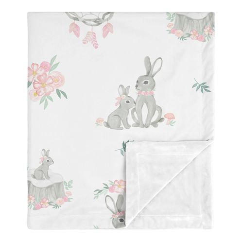 Woodland Bunny Baby Girl Receiving Security Swaddle Blanket for Newborn or Toddler Nursery Car Seat Stroller Soft Minky by Sweet Jojo Designs - Blush Pink and Grey Boho Floral Watercolor Rose Flower - Click to enlarge