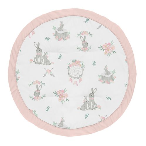 Woodland Bunny Floral Girl Baby Playmat Tummy Time Infant Play Mat by Sweet Jojo Designs - Blush Pink and Grey Boho Watercolor Rose Flower Dream Catcher - Click to enlarge