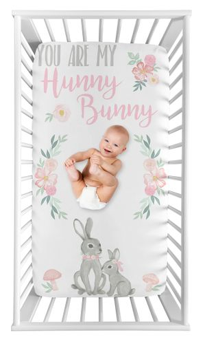 Woodland Bunny Floral Girl Fitted Crib Sheet Baby or Toddler Bed Nursery Photo Op by Sweet Jojo Designs - Blush Pink and Grey Boho Watercolor Rose Flower Forest - Click to enlarge
