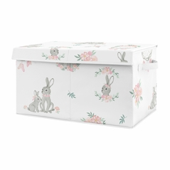 Woodland Bunny Floral Girl Small Fabric Toy Bin Storage Box Chest For Baby Nursery or Kids Room by Sweet Jojo Designs - Blush Pink and Grey Boho Watercolor Rose Flower Forest Rabbit