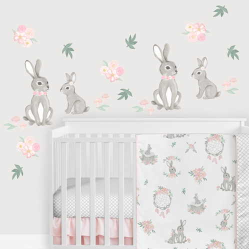 Woodland Bunny Floral Large Peel and Stick Wall Decal Stickers Art Nursery Decor Mural by Sweet Jojo Designs - Set of 4 Sheets - Blush Pink and Grey Boho Watercolor Rose Flower Bohemian Leaves Mushrooms - Click to enlarge