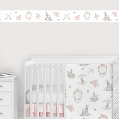 Woodland Bunny Floral Wallpaper Wall Border Mural by Sweet Jojo Designs - Blush Pink and Grey Boho Watercolor Rose Flower Dream Catcher Arrow