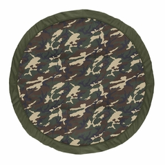 Woodland Camo Boy Baby Playmat Tummy Time Infant Play Mat by Sweet Jojo Designs - Beige Green and Black Rustic Forest Camouflage