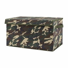 Woodland Camo Boy Small Fabric Toy Bin Storage Box Chest For Baby Nursery or Kids Room by Sweet Jojo Designs - Beige Green and Black Rustic Forest Camouflage