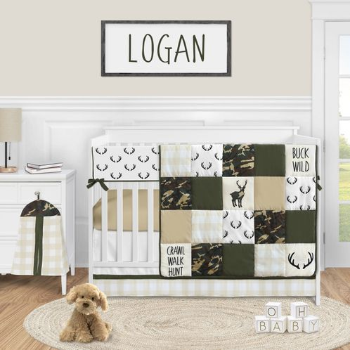 Woodland Camo Deer Baby Boy Nursery Crib Bedding Set by Sweet Jojo Designs - 5 pieces - Green Beige and Black Rustic Camouflage Buffalo Plaid Check - Click to enlarge
