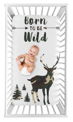 Woodland Camo Deer Boy Fitted Crib Sheet Baby or Toddler Bed Nursery Photo Op by Sweet Jojo Designs - Beige, Green and Black Rustic Forest Animal Camoflauge