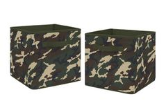 Woodland Camo Foldable Fabric Storage Cube Bins Boxes Organizer Toys Kids Baby Childrens by Sweet Jojo Designs - Set of 2 - Green and Beige Camouflage
