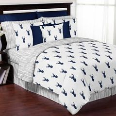 Navy and White Woodland Deer 3pc Full / Queen Bedding Set by Sweet Jojo Designs