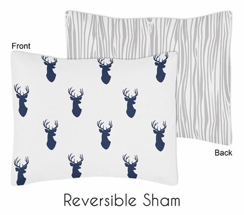 Navy and White Woodland Deer Pillow Sham by Sweet Jojo Designs - Click to enlarge