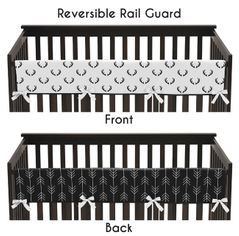 Woodland Deer and Arrow Boy Long Front Crib Rail Guard Baby Teething Cover Protector Wrap by Sweet Jojo Designs - Black and White Rustic Country Lumberjack