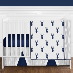 Navy and White Woodland Deer Baby Bedding - 11pc Boys Crib Set by Sweet Jojo Designs