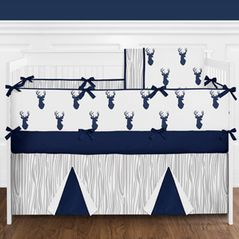Navy and White Woodland Deer Baby Bedding - 9pc Boys Crib Set by Sweet Jojo Designs