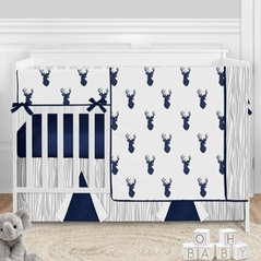 Woodland Deer Baby Boy Nursery Crib Bedding Set by Sweet Jojo Designs - 5 pieces - Navy Blue and White Stag