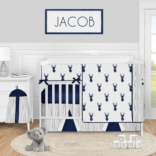 Woodland Deer Baby Boy Nursery Crib Bedding Set by Sweet Jojo Designs - 5 pieces - Navy Blue and White Stag - Click to enlarge